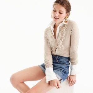 J. Crew Jackie Ruffle Tulle Cardigan Sweater L
